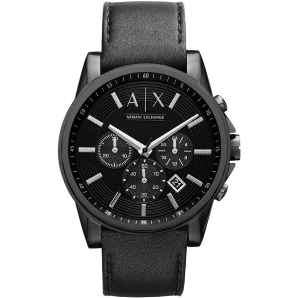 Men's Ax Armani Exchange Chronograph Leather Strap Watch (445 BRL) ❤ liked on Polyvore featuring men's fashion, men's jewelry, men's watches, black, mens watches, mens chronograph watch, mens leather strap watches, mens watches jewelry and large dial mens watches