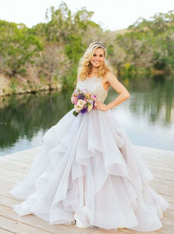 20 Dreamy Pastel Wedding Dresses | SouthBound Bride | http://www.southboundbride.com/20-pastel-wedding-dresses | Credit: al gawlik/pink parasol designs & coordinating/hayley paige via Swooned