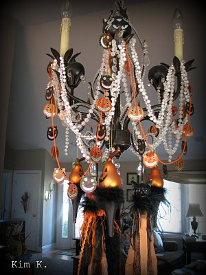 Black cat cup Chandelier