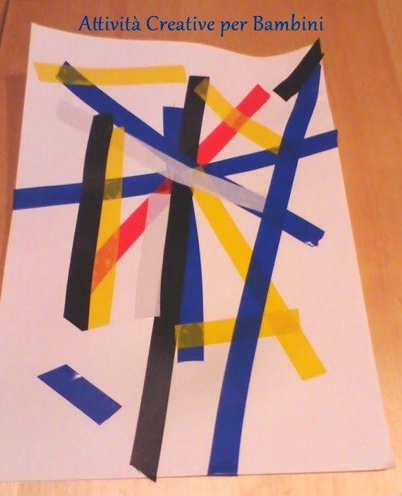 Attività Creative Per Bambini: Quadri con il nastro adesivo colorato