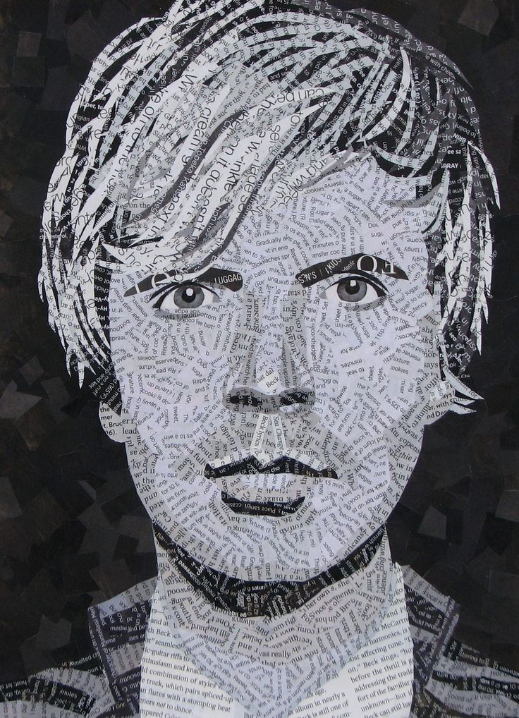 | Beck by Amy Woodward | My challenge here was doing everything but his eyes in paper with print. Magazine collage on bristol board 9 x 12 ""