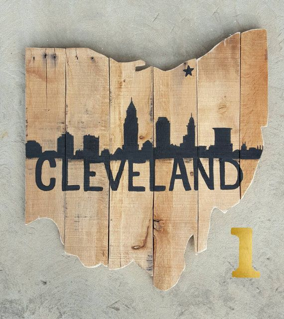 2ft Ohio Pallet Outline sign w/ Cleveland Skyline by UpcycleCharm