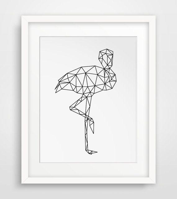 Flamingo Art Geometric Flamingo Printable by MelindaWoodDesigns #flamingoprints