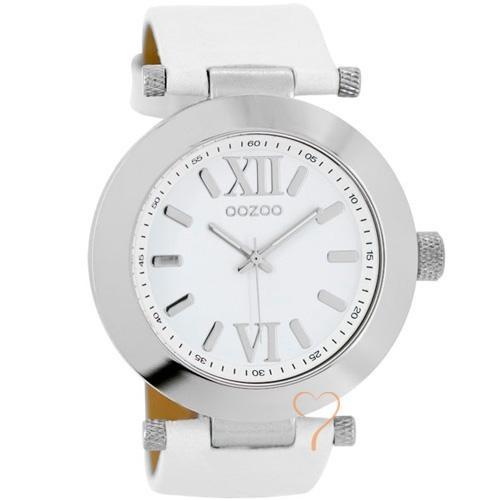 Ρολόι Oozoo Timepieces 40mm Silver Case - White Leather Strap