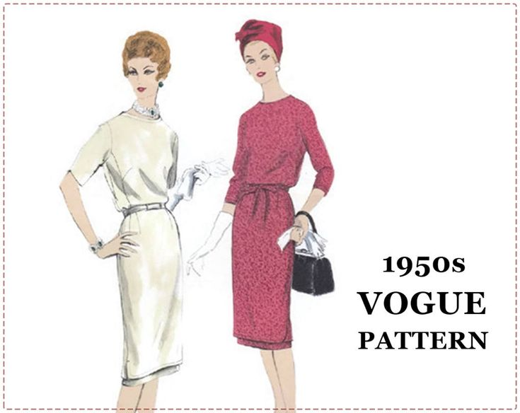 1950s Sewing Pattern - Vogue 9917 - Two Piece Tunic Dress - Size 14 Bust 34 - UNCUT - Underskirt, Slim Skirt, Short Sleeve, Long Sleeve by EightMileVintageSews on Etsy