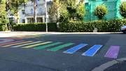 crosswalk painted in rainbow colors outside Russias' embassy in Oslo, Norway...