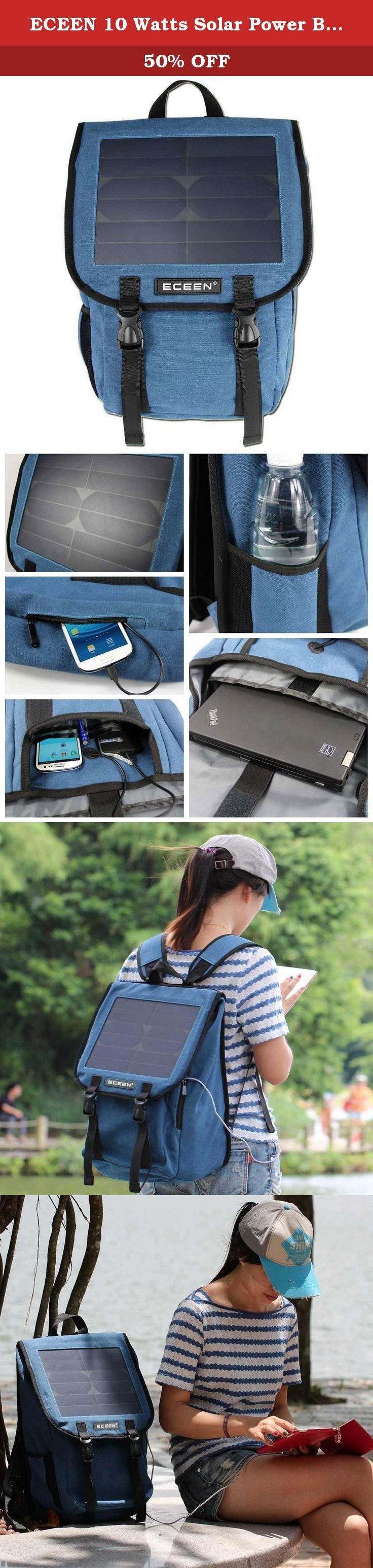 ECEEN 10 Watts Solar Power Backpack, 38 Litres and Canvas Material Bag, Solar Power Charger with Voltage Regualte Charging For iPhone, iPad, SAMSUNG, Gopro Cameras etc. 5V Device. (Blue). * ECEEN® is a registered trademark. ONLY Authorized seller of ECEEN® can sell under ECEEN® listings. The Solar Power Bag is a stylish backpack with all of the functionality and looks of a well-equipped backpack with the addition of a solar charging module. The Solar Power Bag has pockets for your cell…