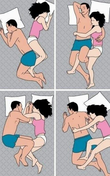 Most popular ways couples sleep....& many more! LOL!
