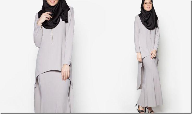 GREY Modern Baju Kurung Ideas For Raya 2016 / grey-high-low-kurung