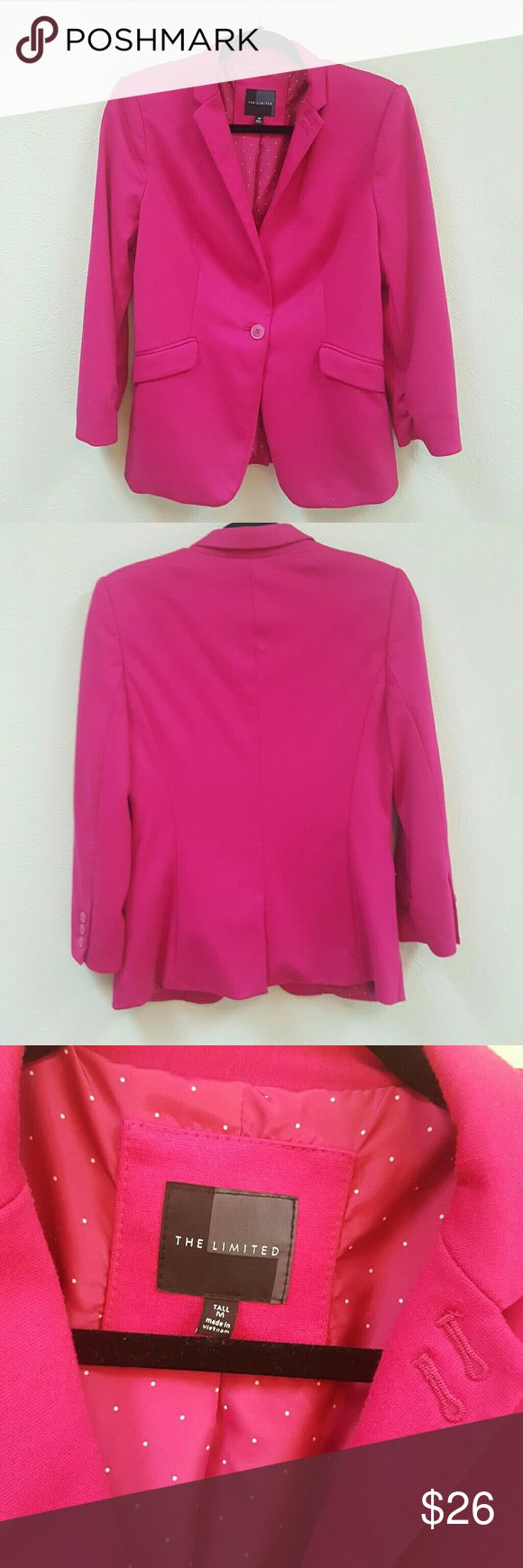 Hot Pink The Limited Brand Blazer Statement piece! This hot pink blazer is perfect for spring! Size is Medium Tall. There is some padding in the shoulders. Adorable! The Limited Jackets & Coats Blazers