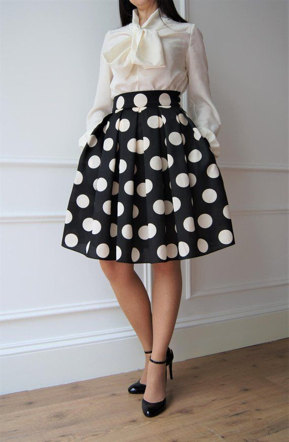 buy online 6889d 9dc29 Polka dot skirt Gonna anni 50 Gonna a pieghe Gonna elegante ...