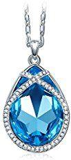 Pauline & Morgen - Silver Ocean - Collier Femme Cristal SWAROVSKI ELEMENTS Bleu Plaque Or Blanc - Portez-le et admirez les reflets lumineux envoutants a l'interieur du cristal