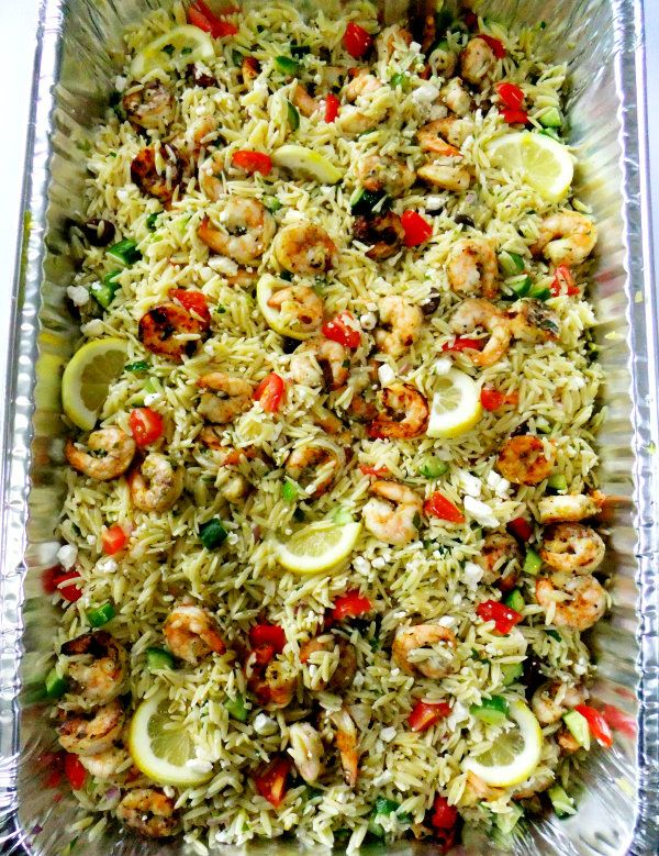 grilled shrimp and orzo salad. Grilled shrimp (marinate the shrimp in lemon peel, lemon juice, olive oil, crushed garlic, and a pinch of red pepper flakes, then grill) Cooked orzo pasta Diced and seeded English cucumber Diced red onion Crumbled feta Grape tomatoes, halved Kalamata olives Lemon zest Mint, parsley, oregano