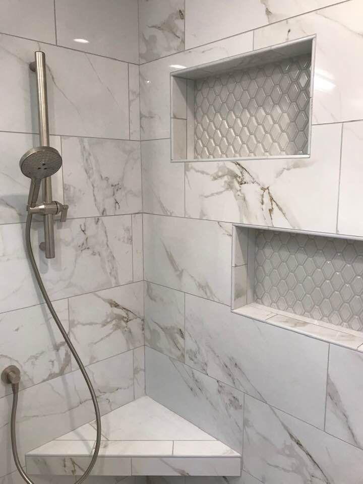 Calcutta Polished Porcelain Discontinued Master Bath Shower Tile Porcelain Tile Bathroom Marble Bathroom