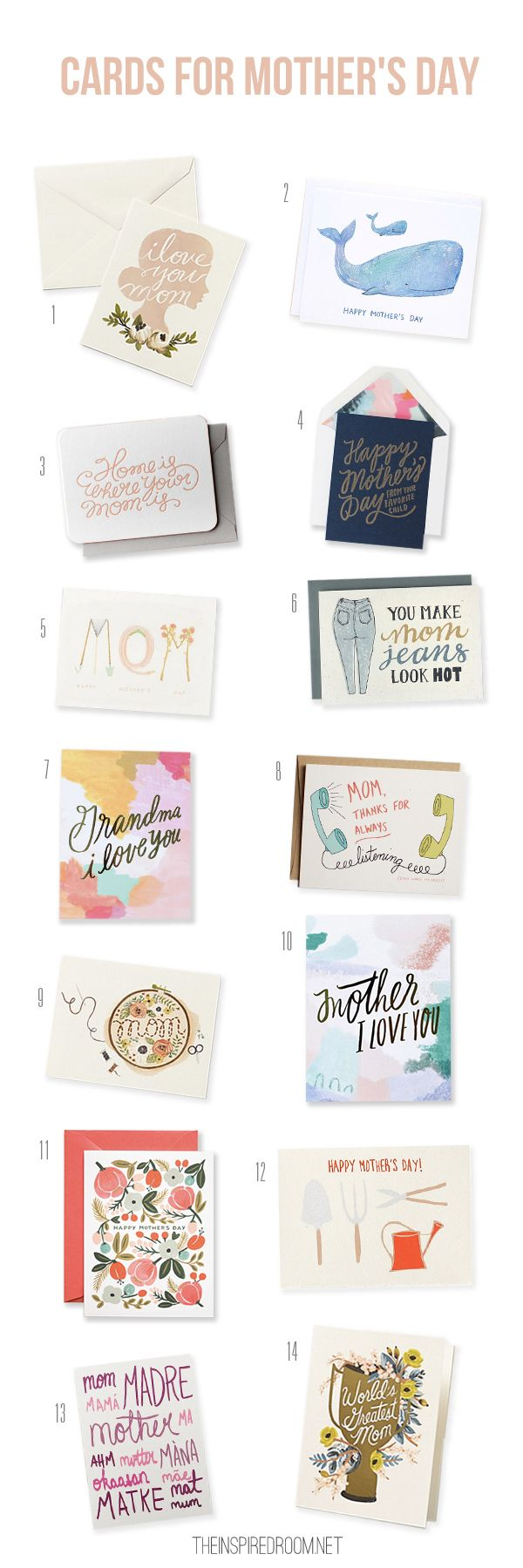 14 Cute Mother's Day Cards (sources on the blog!) #mothersday #cards #gifts