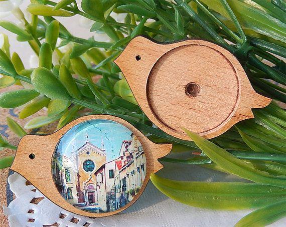 2pcs 25mm Laser cutting wood/Beech wood birds/wooden by diyla, $1.99