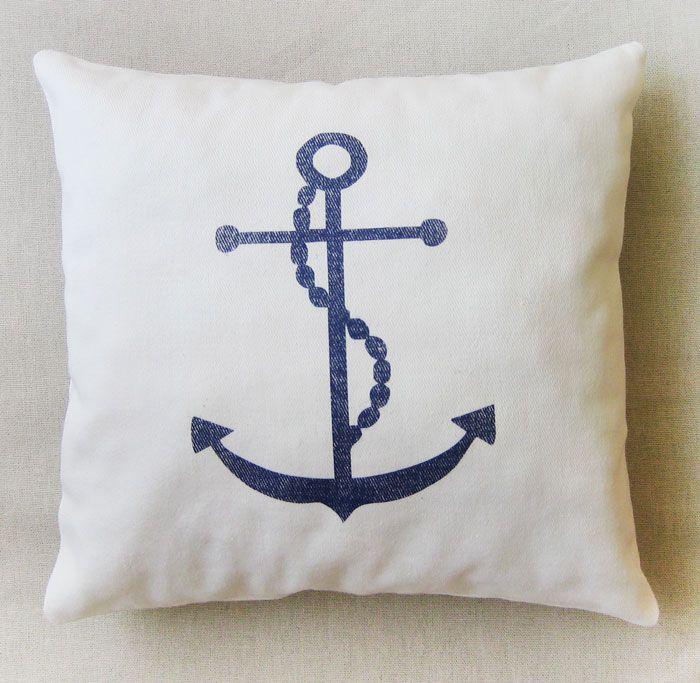 pillow cushion pad interior декор Подушки для интерьера. Подушки для фотосессий. Декорирование. Инициализация. Подушка в морском стиле. Белый якорь на синем фоне.