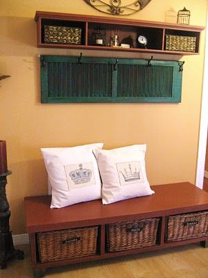 shutters: Coats Hooks, Entry Way, Old Shutters, Coats Racks, Repurpo Furniture, Mud Rooms, Repurposed Furniture, Shutters Ideas, Repurposed Shutters