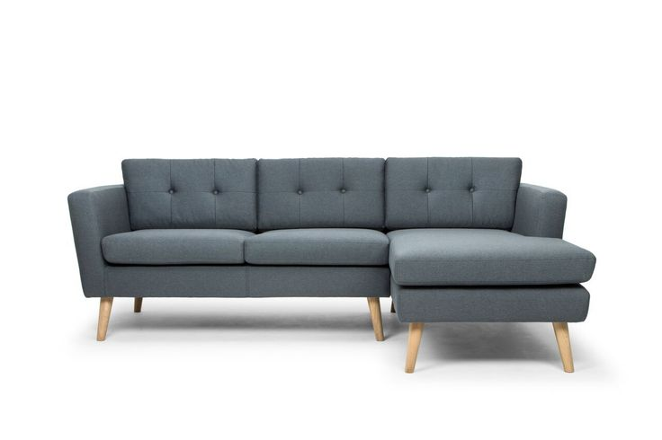 Nahla Scandinavian Style Right Hand Facing 3 Seater Sofa with chaise - Charcoal/Oak Legs