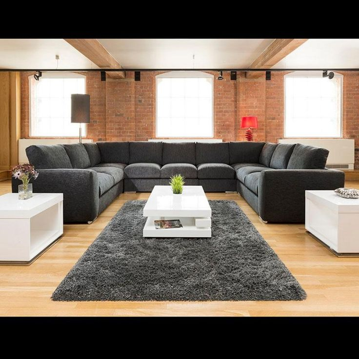 Extra Large Cinema Sofa Set Settee Corner Group U Shape Black 40x26m