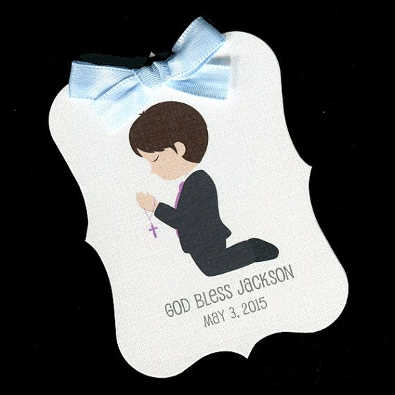 20 Personalized  Boys First Holy Communion Favor Tags by susiedees