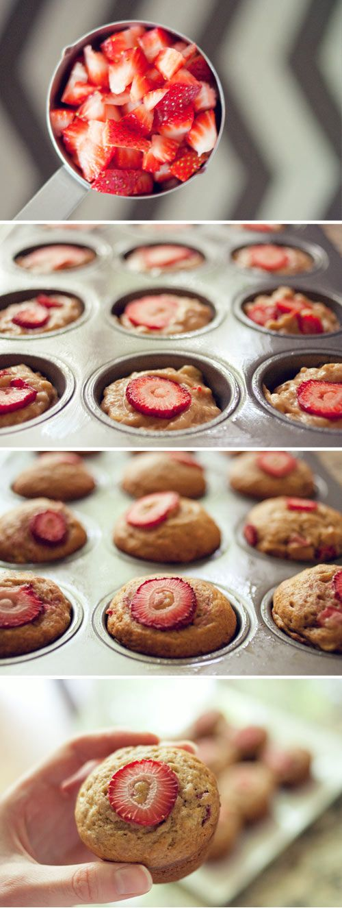 A happy idea for strawberry-banana muffins.