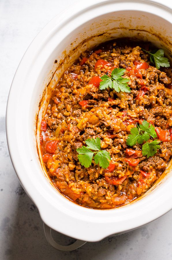 (Omit oil, use 1 1/2 lb meat and serve with an extra 1/2 grain) Slow Cooker Stuffed Pepper Casserole -Simple unstuffed lazy peppers recipe.
