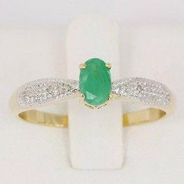 Anel de Formatura em ouro 18k com Pedra Natural Esmeralda e Diamantes- CÓDIGO - ANFO - 01