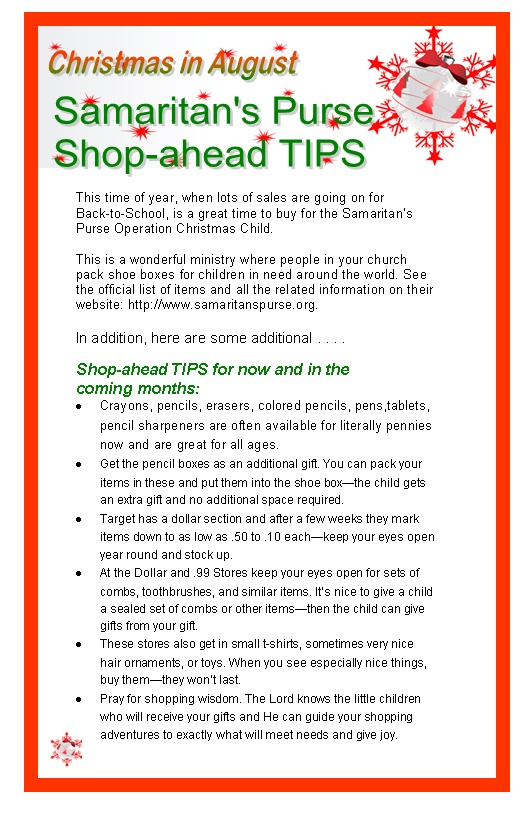 Shop ahead at the pre-school specials for your Christmas Child Samaritan's Purse Shoeboxes! Link goes to bulletin inserts you can reprint and share with your church.  http://www.effectivechurchcom.com/2011/08/shop-for-smaritans-pursechristmas-in-august/