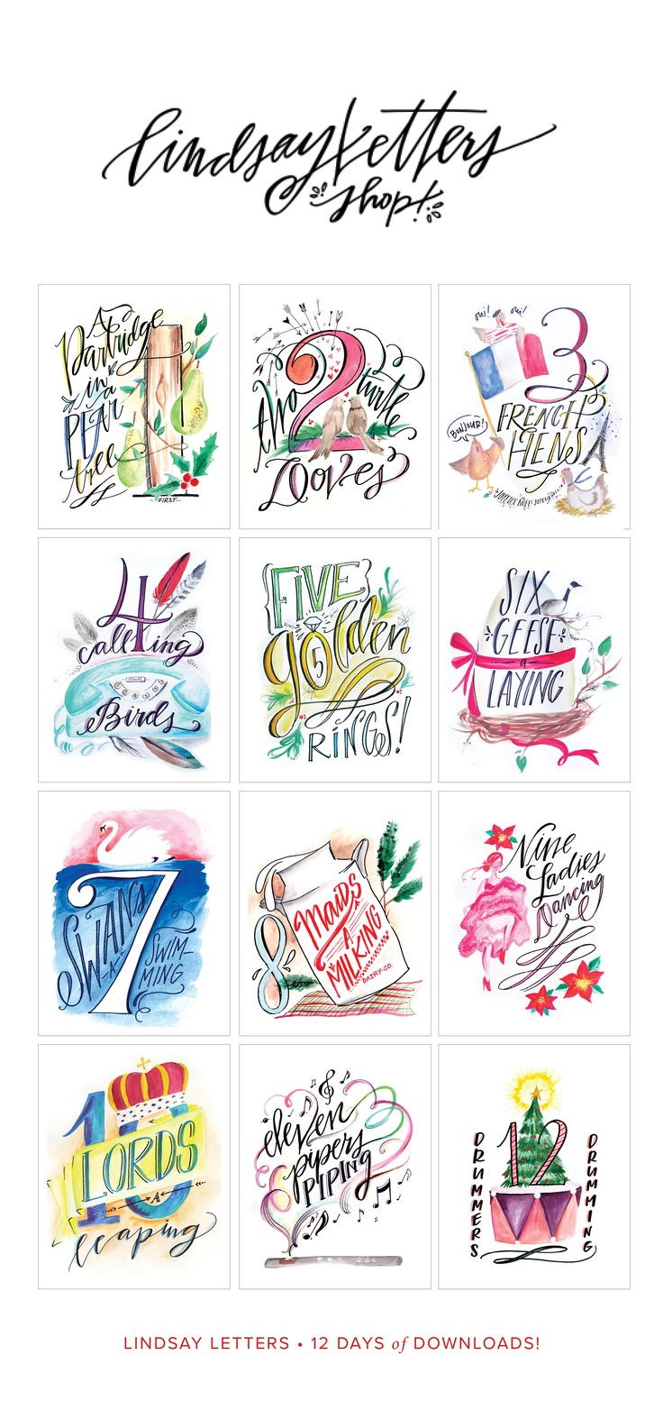 Lindsay Letters 12 Days of Christmas Printables