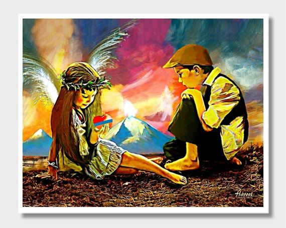 Armenian Art, Masis Ararat, Armenian Flag, Armenia Art, Children of Armenia, Armenian Angel, Armenian Heart, Armenian Wall Decor, Art Prints