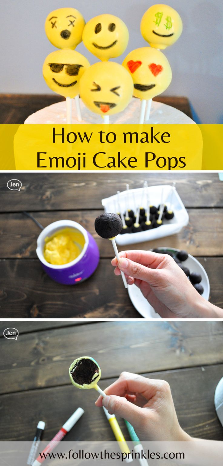 How to make emoji cake pops. Amazing idea to bring to a party, everybody loves cake pops and emojis so the mix is great. They are very easy to make and also a hit with kids.