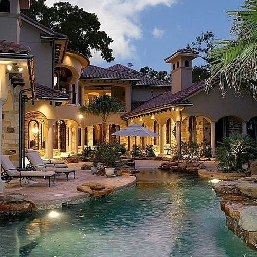 modest house and pool....