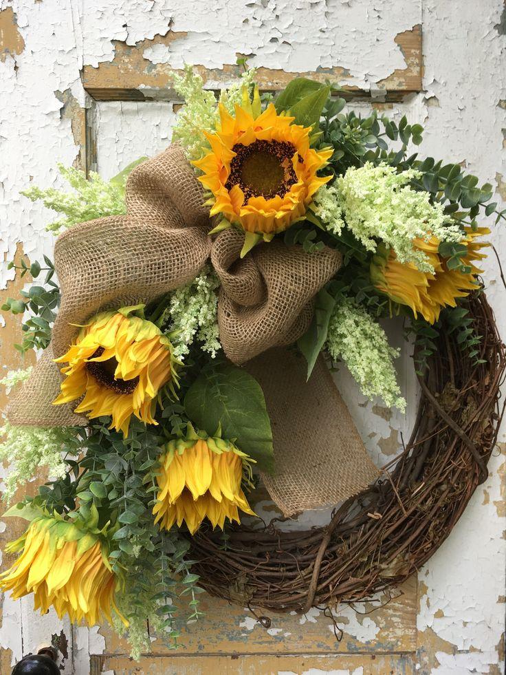 Summer Wreath, Sunflower Wreath, Spring Wreath, Etsy Wreath, Mother's Day Wreath by FlowerPowerOhio on Etsy
