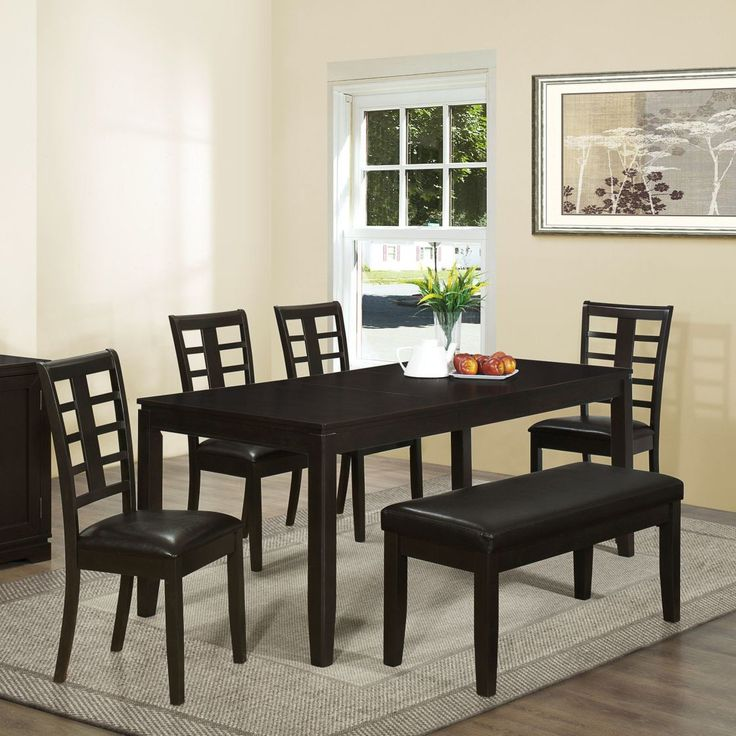 Modern Black Finish Wooden Dining Table In Rectangular unique black dining room sets discount dining room sets