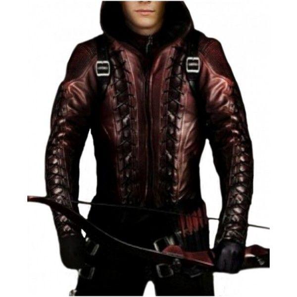 Arrow season 3 Arsenal Red Leather Jacket Men's
