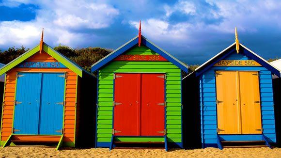 Brighton Huts. Photograph taken Brighton, Melbourne. Victoria.