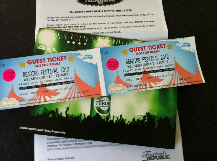 Free Reading festival tickets WITH private guest camping, private bar & private backstage area.