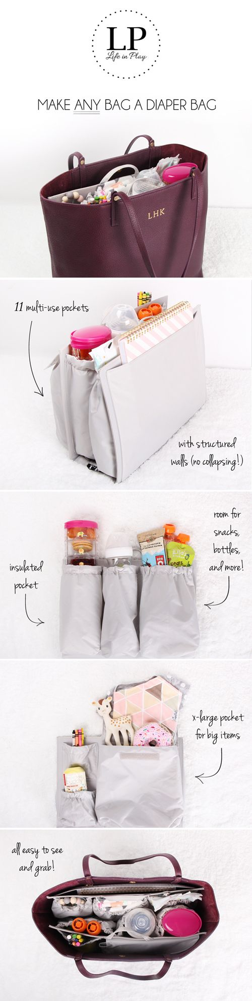 Make any bag a diaper bag with ToteSavvy – the multi-functional organizer insert.