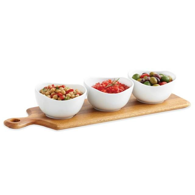 B. Smith 4-Piece Wooden Paddle Board and Ceramic Bowl Serving Set