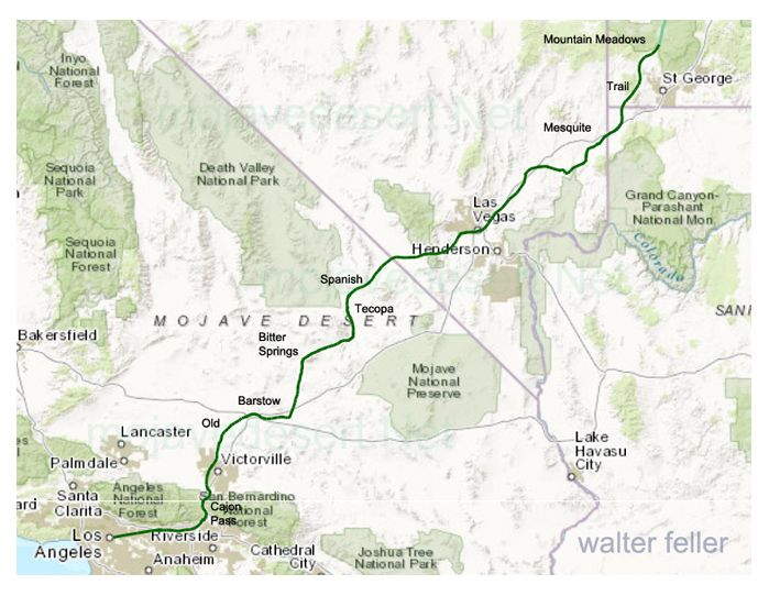 Map of Old Spanish Trail through the Mojave Desert