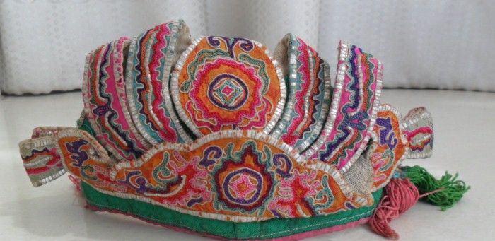 Chinese Miao people's old hand embroidery Child hat
