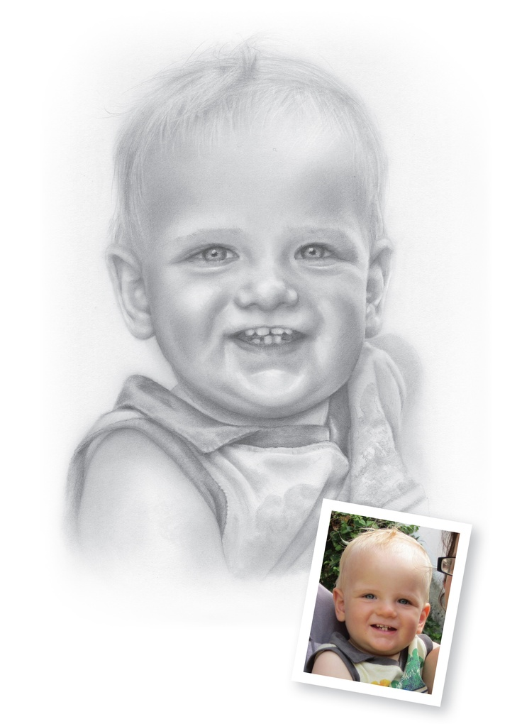 "Pencil Drawings of Babies - Ethan.  ""Hi Mark, once again an amazing likeness, thank you! Thank you also for your very efficient service.""  Claire, Sleaford, Lincolnshire"