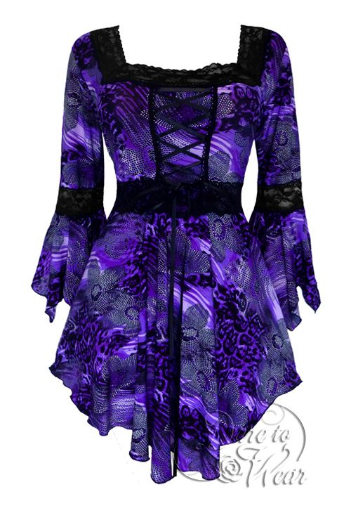 Gothic and Victorian Renaissance plus size corset top in African Violet