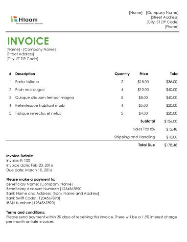 152 best Invoice Templates images on Pinterest Invoice template - billing receipt template