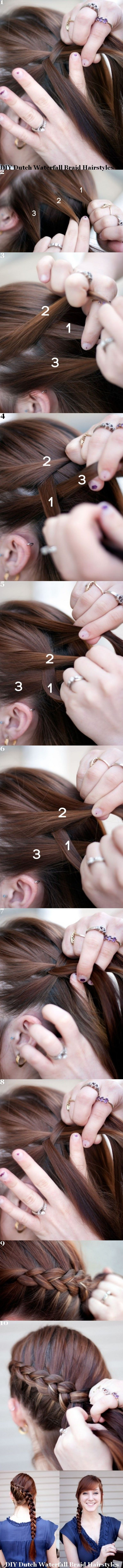 DIY Dutch Waterfall Braid Hairstyles.