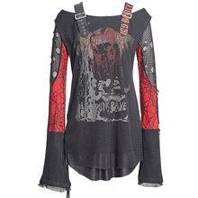 Gothic Punk Women Men Neutral T-shirt 2016 New Arrivals Black White O-neck Flare Sleeve Tshirts Long Sleeve Cotton Tops T-221 //Price: $US $42.00 & FREE Shipping //     #tshirt