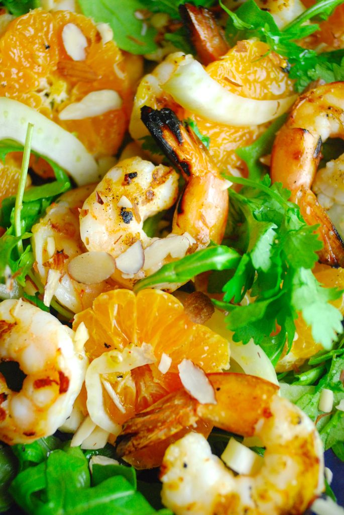 Grilled Shrimp, Citrus and Fennel Salad with Arugula and Almonds