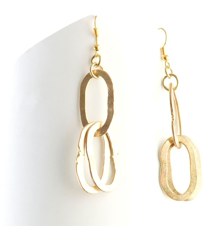 Re-claimed brass earrings from the Semat Collection. Made in Kenya. Stocked with One Colour www.onecolour.com