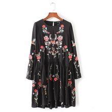 2017 Женская Мода Винтаж Цветочная вышивка Свободные Dress Casual С Длинным рукавом Черные Платья Vestido Femininas D596(China (Mainland))